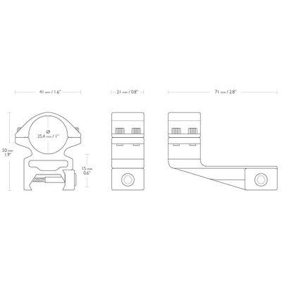 Hawke Match 25mm 2-delige Offset Kijkermontage Weaver/Picatinny