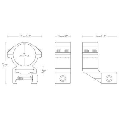 Hawke Match 30mm 2-delige Offset Kijkermontage Weaver/Picatinny