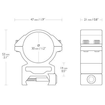 Hawke Match 30mm 2-delige Kijkermontage Weaver/Picatinny